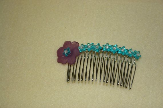 Purple & Blue Flower Hair Comb