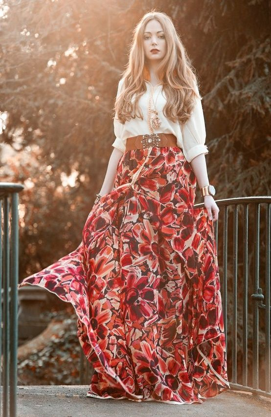 Throwback boho chic fashion, modern hippie clothing trend, bright floral print maxi skirt. FOLLOW http://www.pinterest.com/happygolicky/the-best-boho-chic-fashion-bohemian-jewelry-gypsy-/ for the BEST Bohemian looks.
