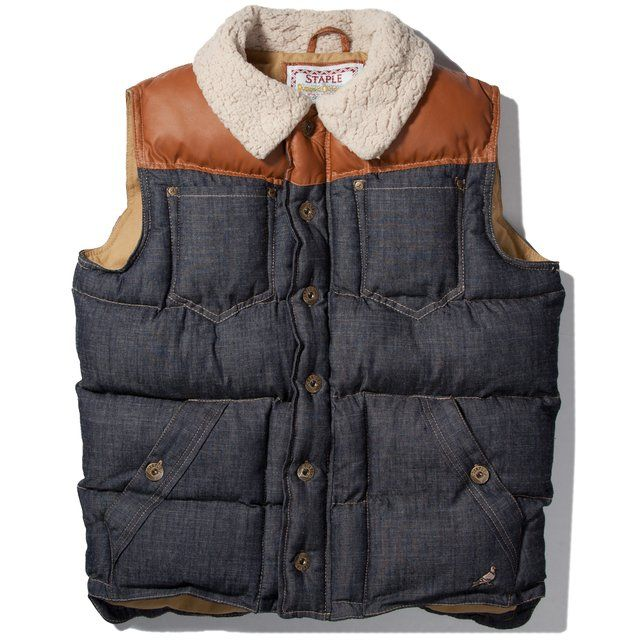 Staple Indigo Bustleton Denim Vest . Menswear