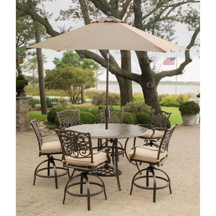 Hanover Traditions 7-Piece High-Dining Bar Set in Tan with 9 Ft. Table Umbrella and Stand (Tan), Size 7-Piece Sets, Patio Furniture (Aluminum)