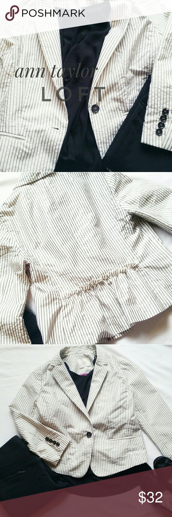 LOFT pinstripe blazer Such a cute blazer! White with a gray pinstripe, size 4p, 3/4 length sleeves. One button closure, 4 buttons on each sleeve. The back is gathered and has an adorable ruffle. Excellent preloved condition.   Perfect for spring! LOFT Jackets & Coats Blazers