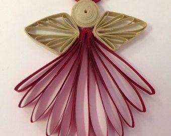 White Angel Ornament or topper in Quilling por joanscrafts en Etsy