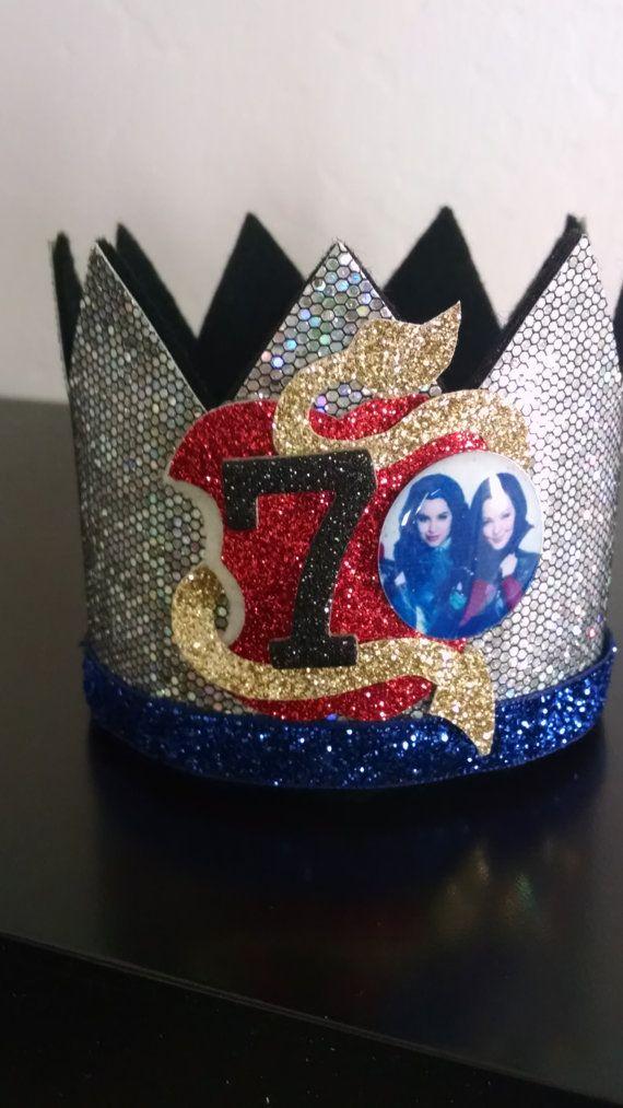 Descendants Mal Evie Birthday Crown Headband Large Smash cake. Birthday crown party Descendants disney Headband  photo prop CUSTOMIZE
