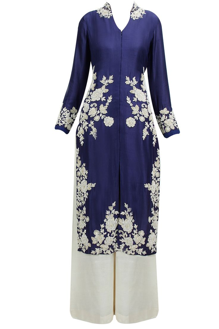 Navy blue zardosi embroidered anarkali set available only at Pernia's Pop-Up Shop.