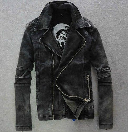 Mens punk motorcycle moto biker Denim hoody Jean Jacket Coat black | eBay