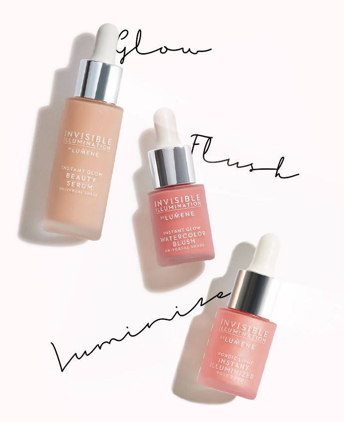 Lumene INVISIBLE ILLUMINATION THE NORDIC GLOW RITUAL The signature Lumene look, inspired by Arctic light. A simple three step ritual to create the ideal healthy nordic glow in minutes.