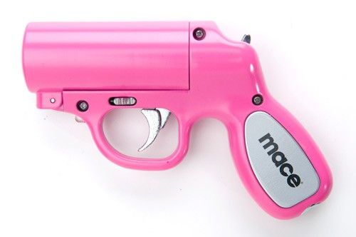 Mace:) it's pink AND it looks like a gun! Perfect for us
