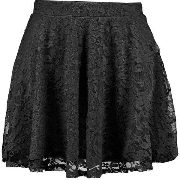 Boohoo Petite Petite Hayley Lace Skater Skirt ($16) ❤ liked on Polyvore featuring skirts, petite skirts, evening skirts, mid calf skirts, skater skirts and flared mini skirt