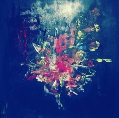FLOWERS ORIGINAL PAINTING, ACRYLICS ON CANVAS SIZE: 70x70x2cm STATUS: AVAILABLE FOR SALE