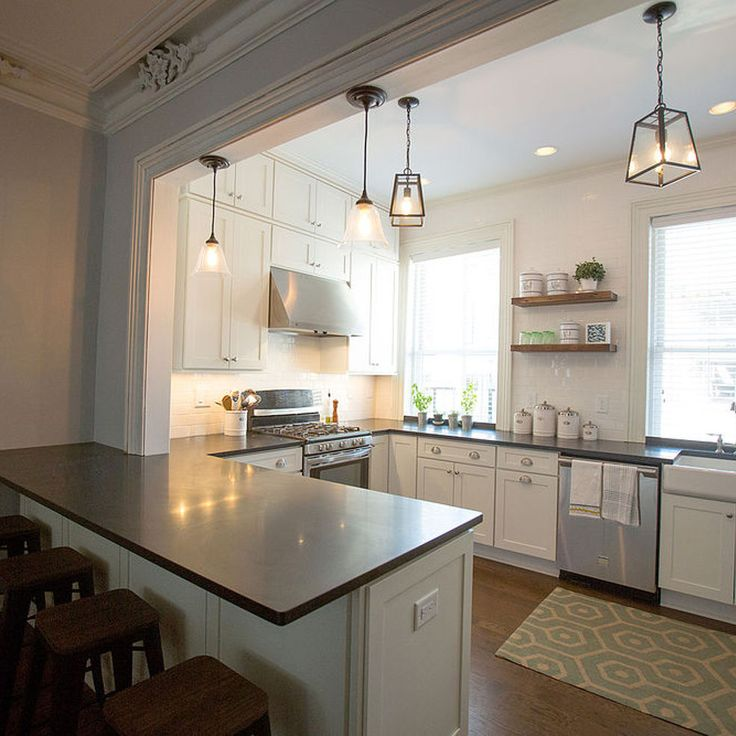 Charming This U Shaped Traditional Kitchen Features Peninsula Seating, Open Shelving  And Perfectly Painted White