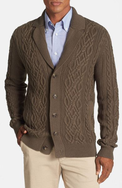 Men's Cable Knit Cardigan | Façonnable Cable Knit Cotton Cashmere Cardigan in Brown for Men ...