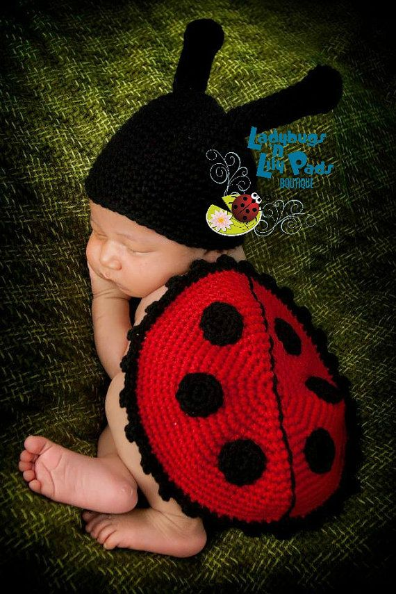 Ladybug Hat and Shell Baby Photo Prop