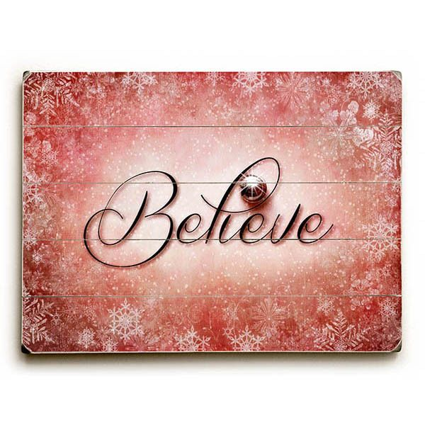 Christmas Believe by Artist Susan Templin Wood Sign