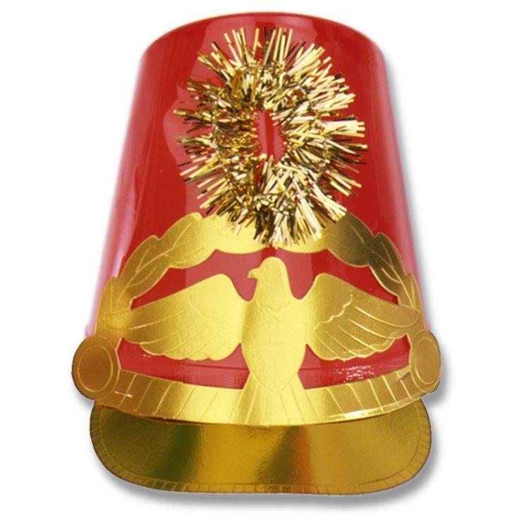 Plastic Drum Major Hat red (12ct)