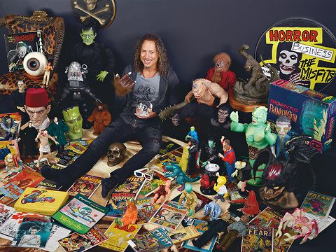 Kirk Hammett, Metallica guitarist, with some of the pieces featured in TOO MUCH HORROR BUSINESS: THE KIRK HAMMETT COLLECTION