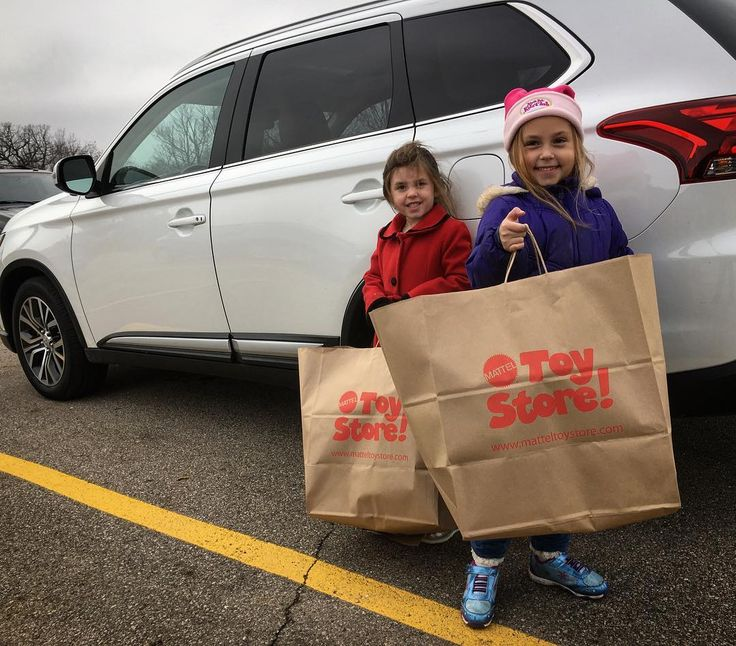 The Rock Daughters just picked out some toys at The @Mattel Toy Store that we purchased to add to our annual #RockFatherSanta #ToyDonation this week.  I'll have this 2017 Mitsubishi Outlander packed with toys to deliver tomorrow :) #doinggood #christmas #mattel #toys #weknowplay #fb #pin