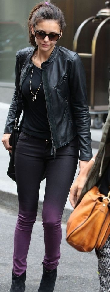 Nina Dobrev. Ombré skinny jeans & black top w/ leather jacket