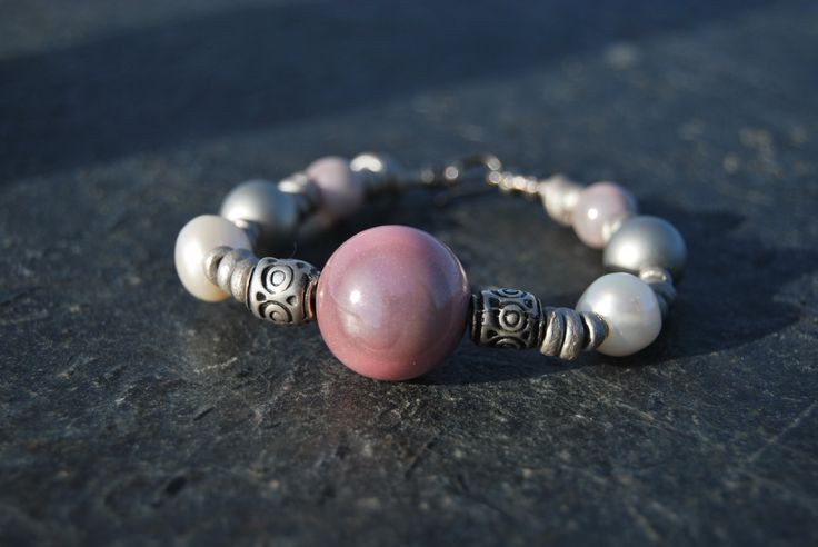 Gray and pink leather bracelet by NorthernlightsNO on Etsy