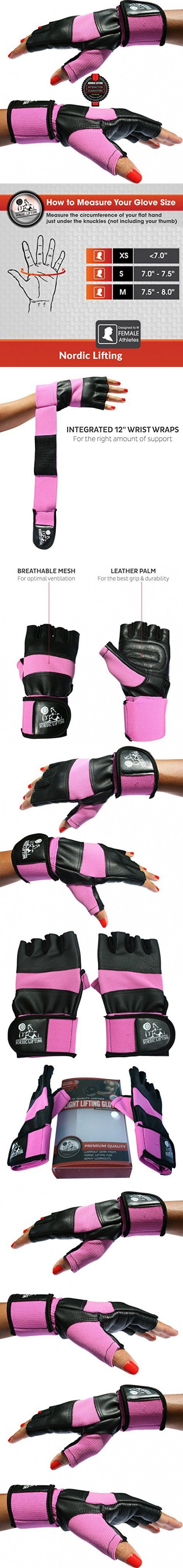 "Weight Lifting Gloves With 12"" Wrist Support For Gym Workout, CrossFit, Weightlifting, Fitness & Cross Training - The Best For Men & Women - by Nordic Liftingâ""¢ - (Pink, Small) - 1 Year Warranty"