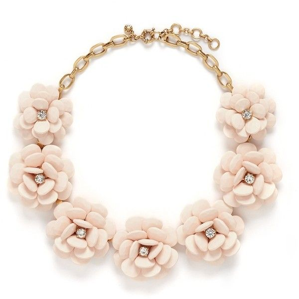 j.crew Beaded rose necklace (£115) ❤ liked on Polyvore featuring jewelry, necklaces, pink, clear necklace, bead necklace, floral necklace, rose necklace and clear crystal necklace
