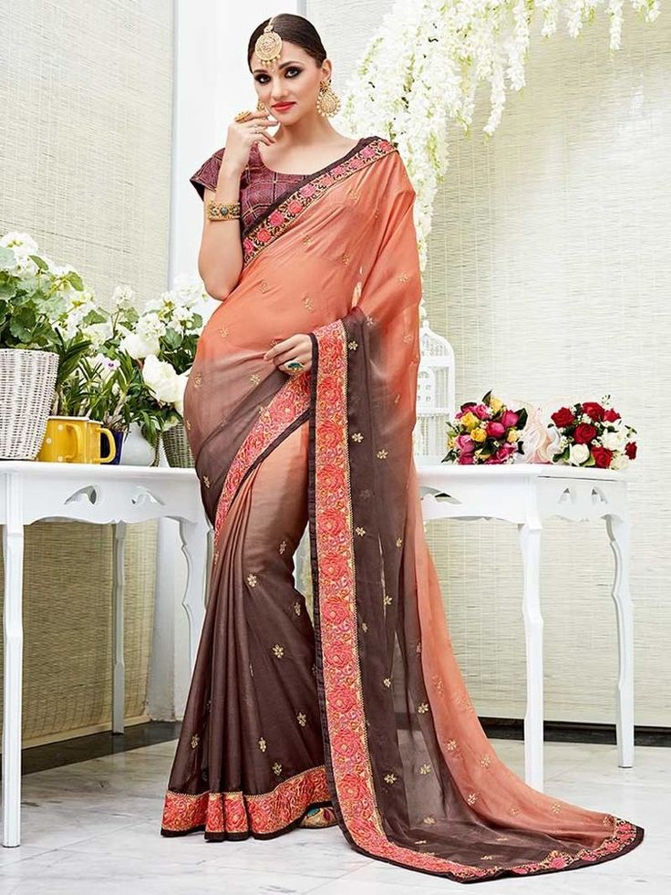 elegent new colr two tone chiffon sarees with embrodery heavy hand work  | eBay