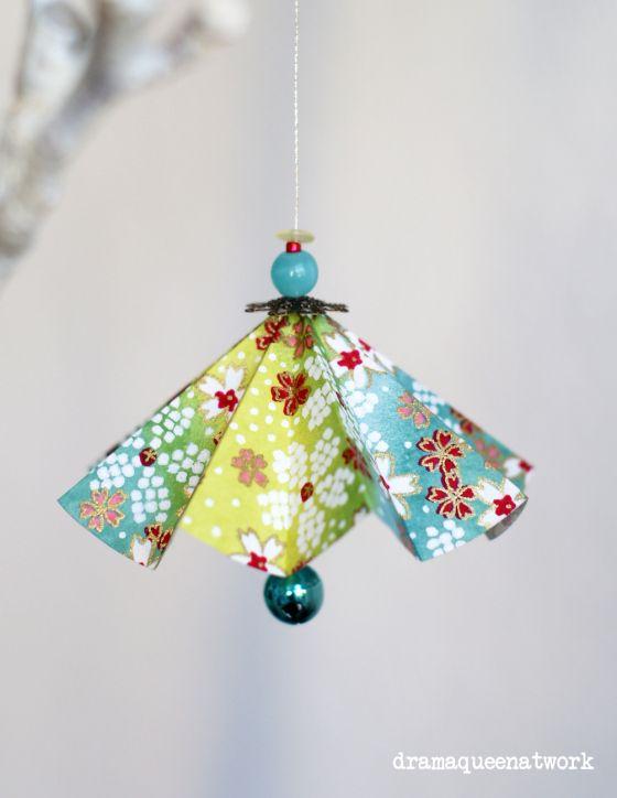 Plissee-Schirmchen Origami-Anhänger Origami-Ornaments