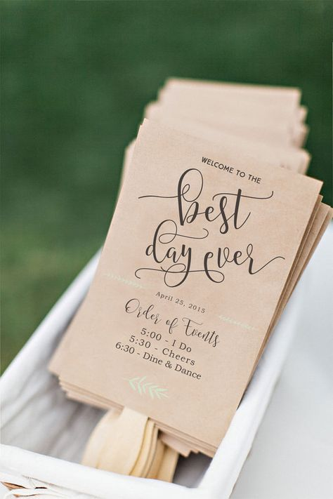 Afdrukbare bruiloft programma Fan DIY bruiloft door CiaoBellaStudio
