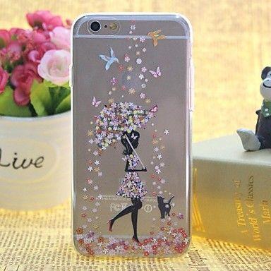 nieve en el alivio del tpu patrón niñas delgada transparente todo caso de la contraportada para el iphone incluido 6 / 6s – USD $ 2.99