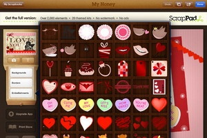 ScrapPad, for Valentine's Scrapbook.Sesuai dengan namanya, aplikasi ScrapPad memang ditujukan bagi pengguna iPad untuk membuat scrapbook secara simple dan mudah.