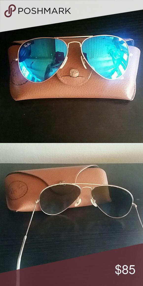 ray ban glass cracked  ray ban blue mirrored aviators authentic made in italy large metal frame in good condition