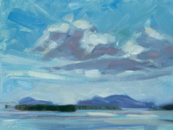 """""""Wind and Clouds,"""" by Philip Frey. Oil, 9"""" x 12,"""" available at Maine Art Paintings and Sculpture."""