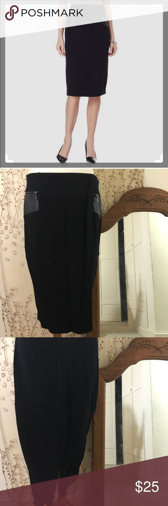 Ponte Knit Pencil Skirt w/faux leather pockets EUC EUC pencil skirt with faux leather zippered pockets (actual working pockets), a back slit and zip and clasp closure. ... there is also a full lining with this skirt, which I show in one of the pics.                          I live in a cat-friendly home. They are not allowed to try on my clothes, though. 😸 Wendy Williams Skirts Pencil