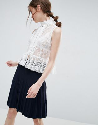 ASOS Top In Lace With Button Font And Peplum Hem