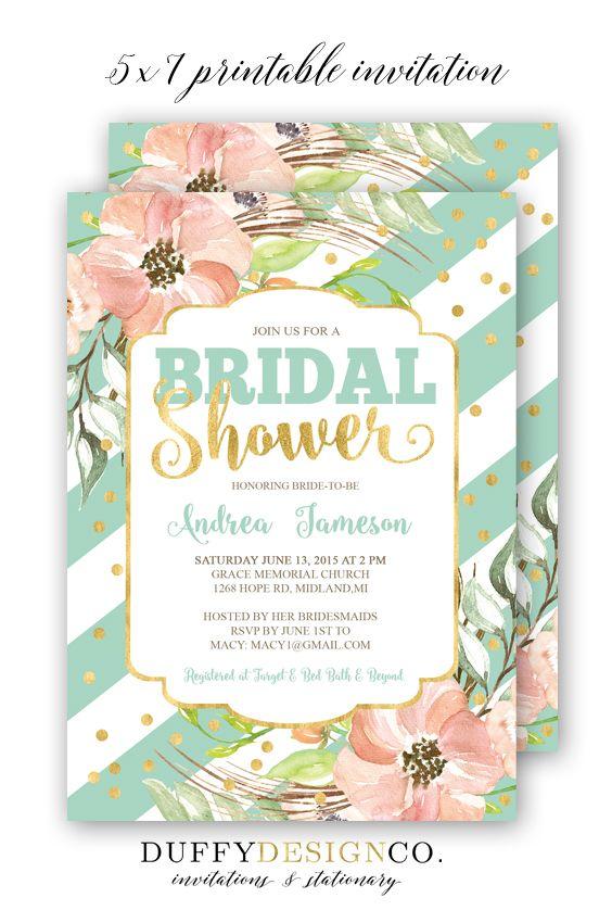 bridal shower invitation bridal brunch invite pinkcoralpeachmintgold 5x7 personalized digital invitation spring floral bridal shower i