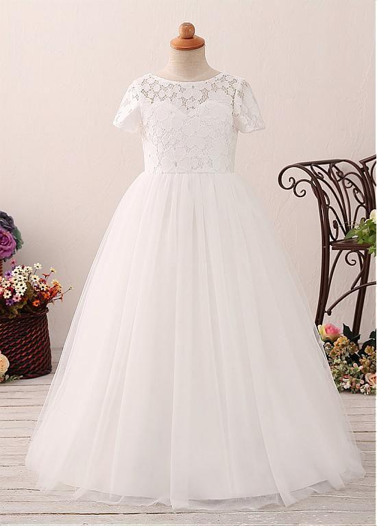 d8b4e838b73 Buy discount Modest Tulle   Lace Jewel Neckline A-line Flower Girl Dress at  Dressilyme.com