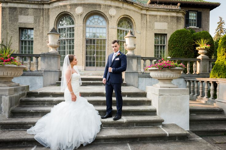 Bride and groom in front of the Parkwood Estate House   Toronto Wedding Photographer Pedram Navid