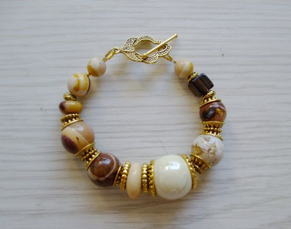 Natural stone smoky quartz jasper opal bracelet / by DreamyBox