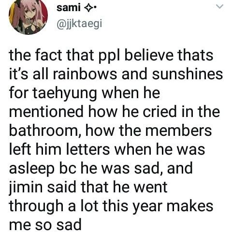 """101 Likes, 6 Comments - 뷔 (@taehyuungv) on Instagram: """"this year has been hard for taehyung :( hopefully next year will be much brighter for him :( -…"""""""
