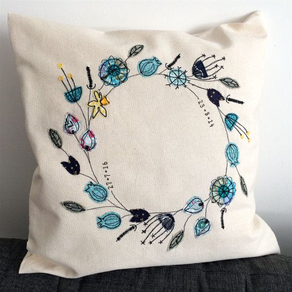 Flower wreath cushion cover, personalised quote, stitched fabric applique embroidery. Birthday wedding cotton 2nd anniversary textile art