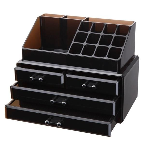Made of durable, clear acrylic. Two piece set organizes all jewelry and/or cosmetics in one place. Removable black mesh padding. Completely removable drawers