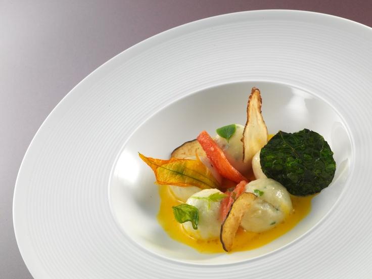 "Ricotta dumplings ""gnudi"" with herbs"