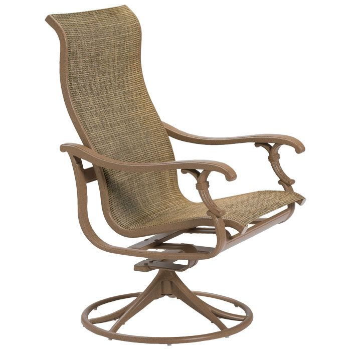Ravello Sling High Back Swivel Rocker with Espresso finish and Raku ...