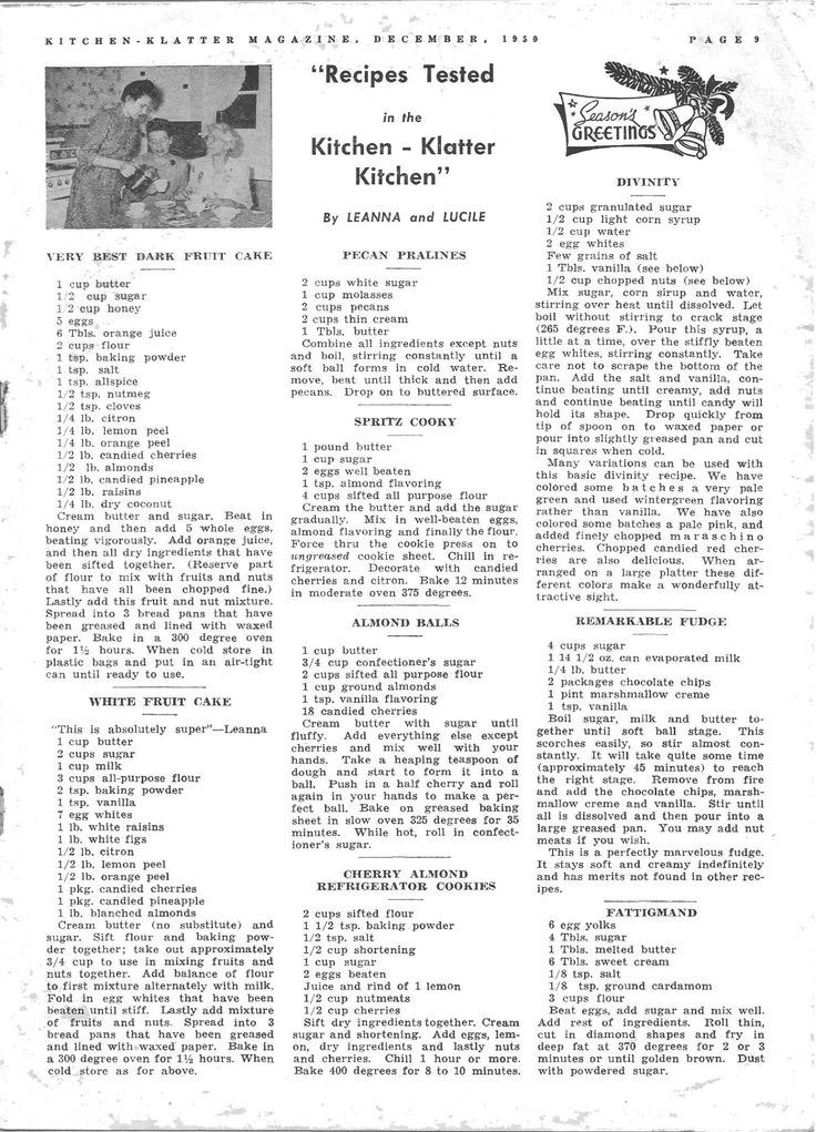 Kitchen Klatter Magazine, December 1950 - Dark Fruit Cake, White Fruit Cake, Pecan Pralines, Spritz Cooky, Almond Balls, Cherry Almond Refrigerator Cookies, Divinity, Remarkable Fudge, Fattigmand