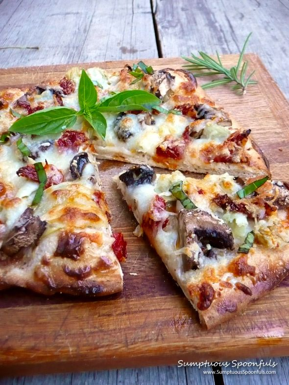 Mushroom Artichoke Sundried Tomato Ranch Pizza ~ Sumptuous Spoonfuls #pizza #recipe