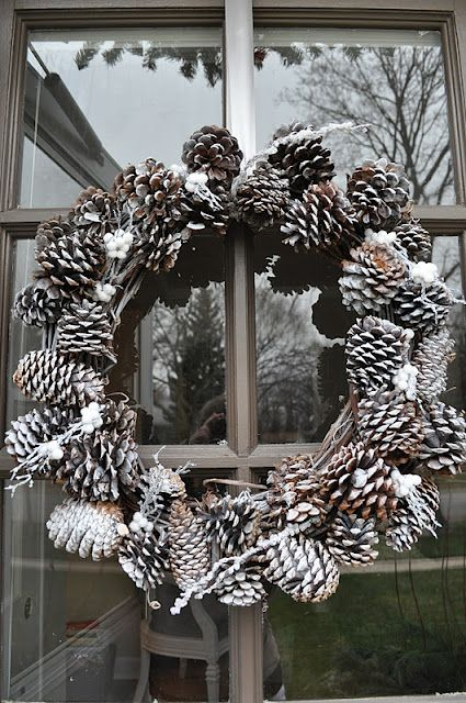 Wreaths aren't just for Christmas - what better way to dress your home for #January that with this wintery cone #wreath.