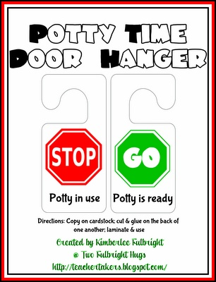 FREEBIE: Potty Time Door Hanger from Two Fulbright Hugs ~ Teacher Time Savers
