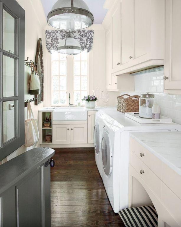 Traditional Laundry Room with Pendant Light, Clemson Classic Single Pendant, Hardwood floors, High ceiling, Farmhouse Sink