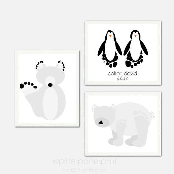 Arctic Animal Wall Art Print Set  Baby by PitterPatterPrint, $45.00