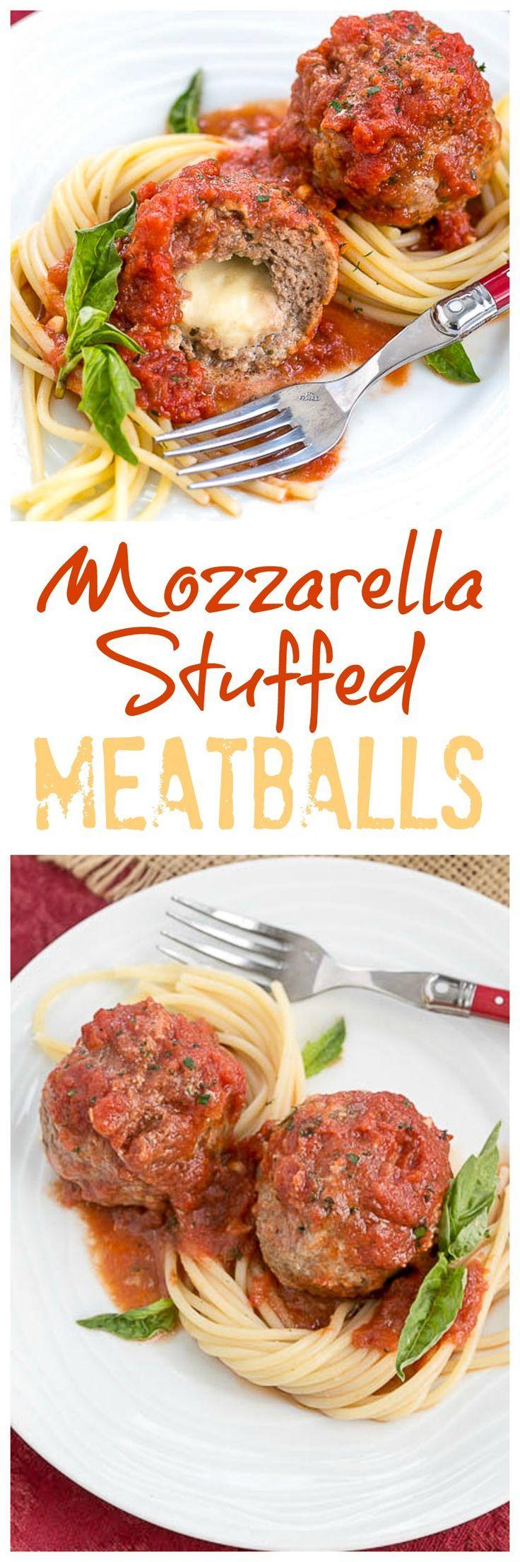 Mozzarella Stuffed Meatballs | Tender meatballs filled with gooey mozzarella