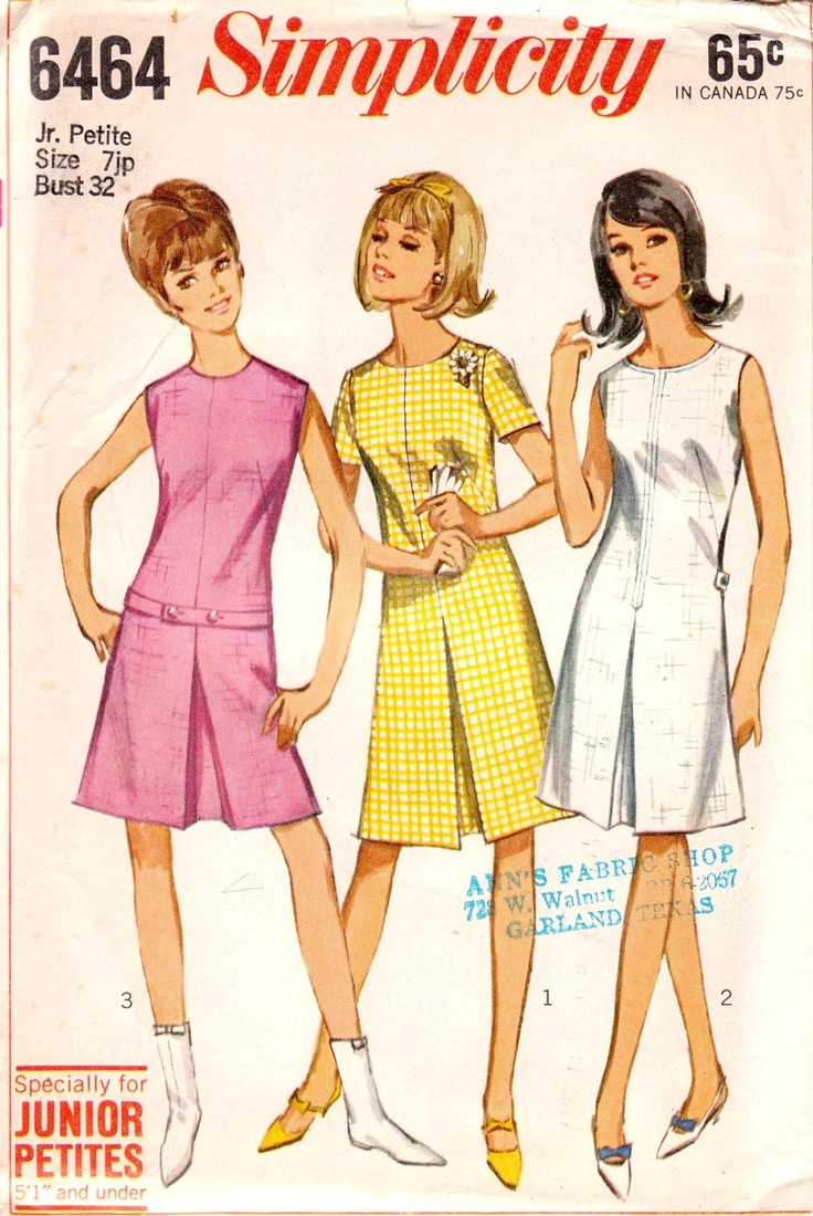 Vintage 1966 Jr. Petite One-Piece Dress in Two Lengths Size 7 Simplicity 6464 UNCUT. $7.00, via Etsy.